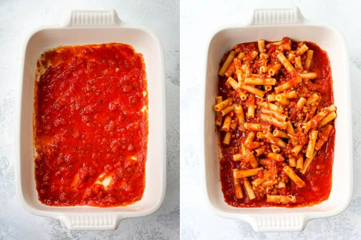 photo collage with pasta sauce and pasta in a white casserole dish