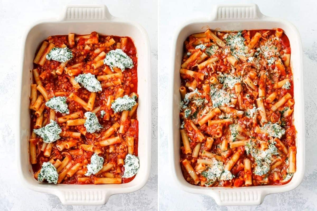 photo collage with ricotta and spinach being added to baked ziti in a white casserole dish