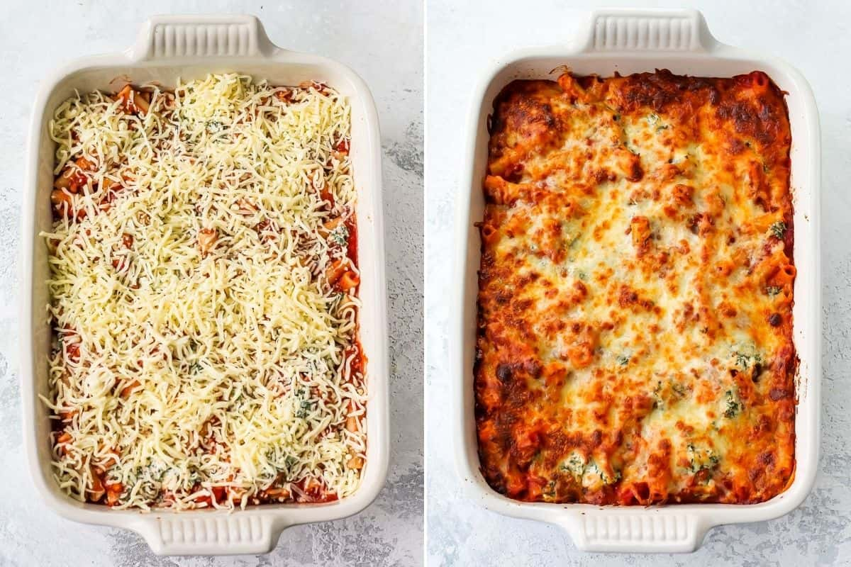 photo collage with baked and unbaked baked ziti in a white casserole dish