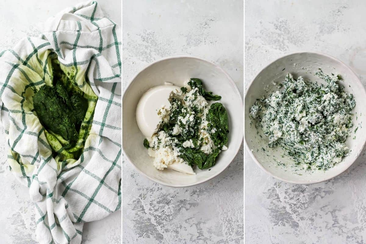 photo collage with frozen spinach and ricotta being mixed together