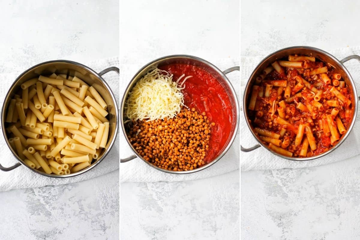 photo collage with pasta being mixed with marinara sauce, lentils, and cheese