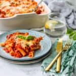 vegetarian baked ziti on a blue plate