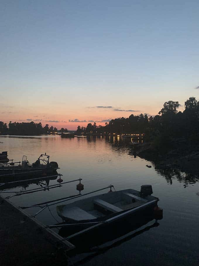 a lake in stockholm at sunset