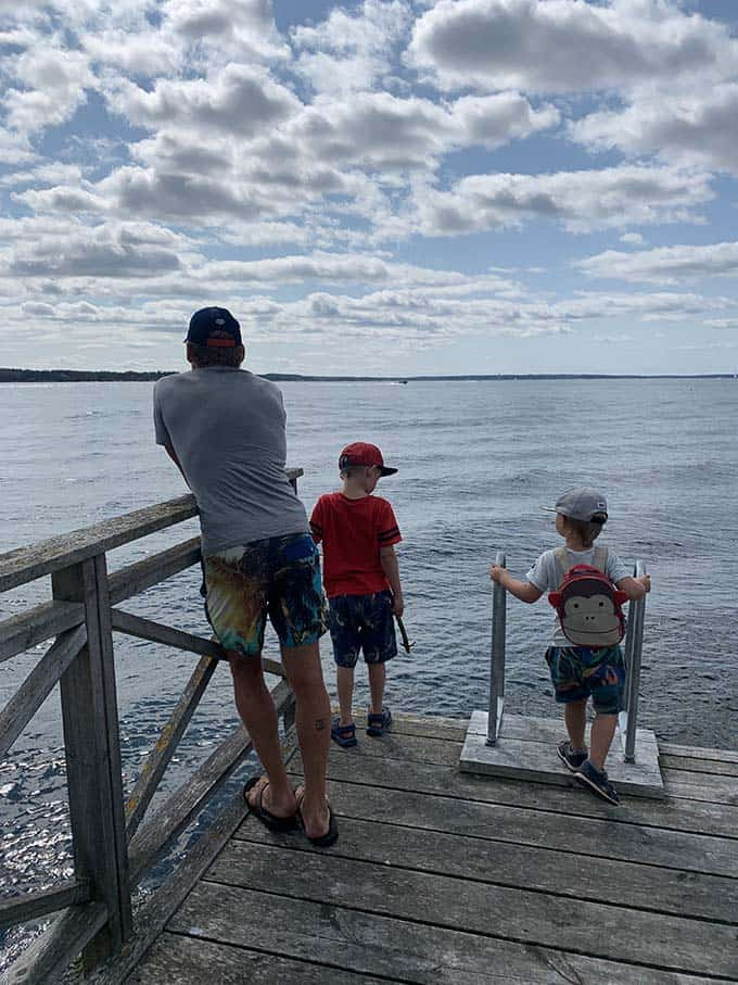 a father and two boys standing on a dock looking over the water