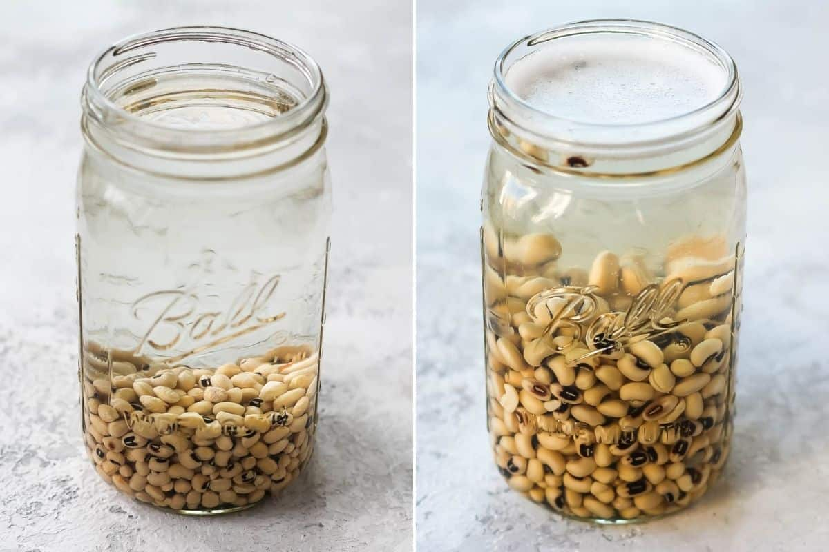 a photo collage with black-eyed peas soaking in a mason jar full of water