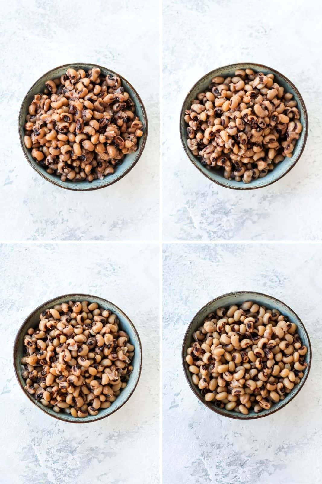 photo collage with black-eyed peas in blue bowls
