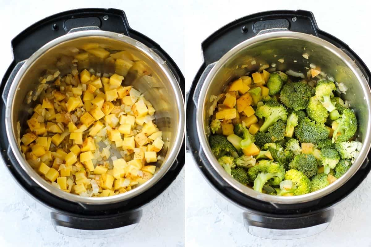 photo collage with potatoes and broccoli being cooked in an instant pot