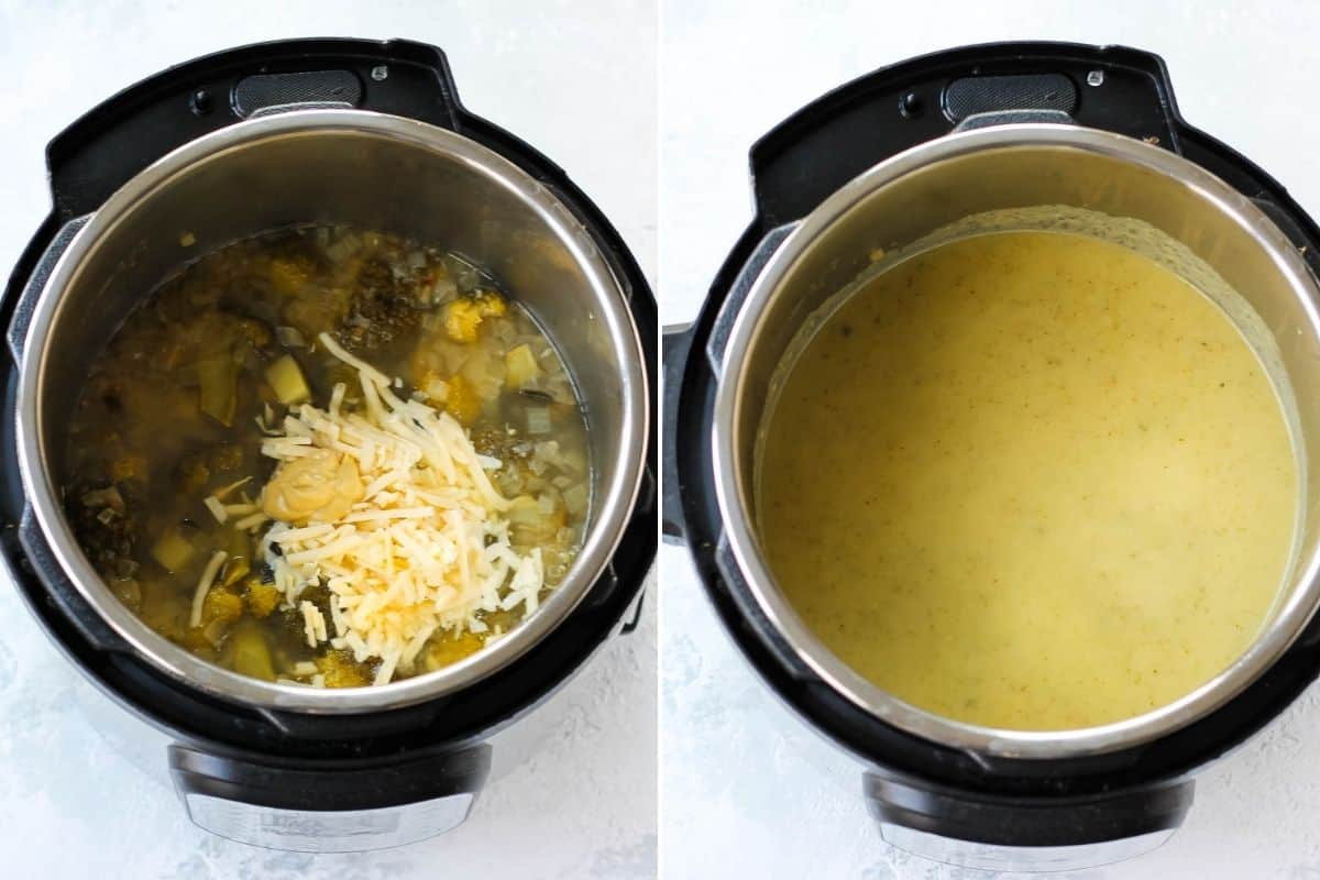 photo collage with blended and unblended broccoli cheddar soup in an instant pot