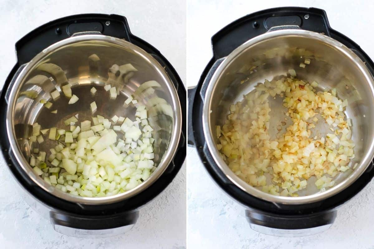photo collage with onions and garlic being cooked in an instant pot