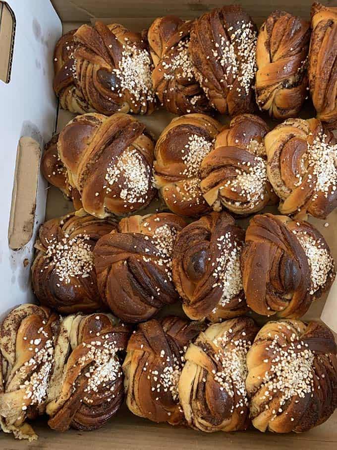 a box of swedish cinnamon buns