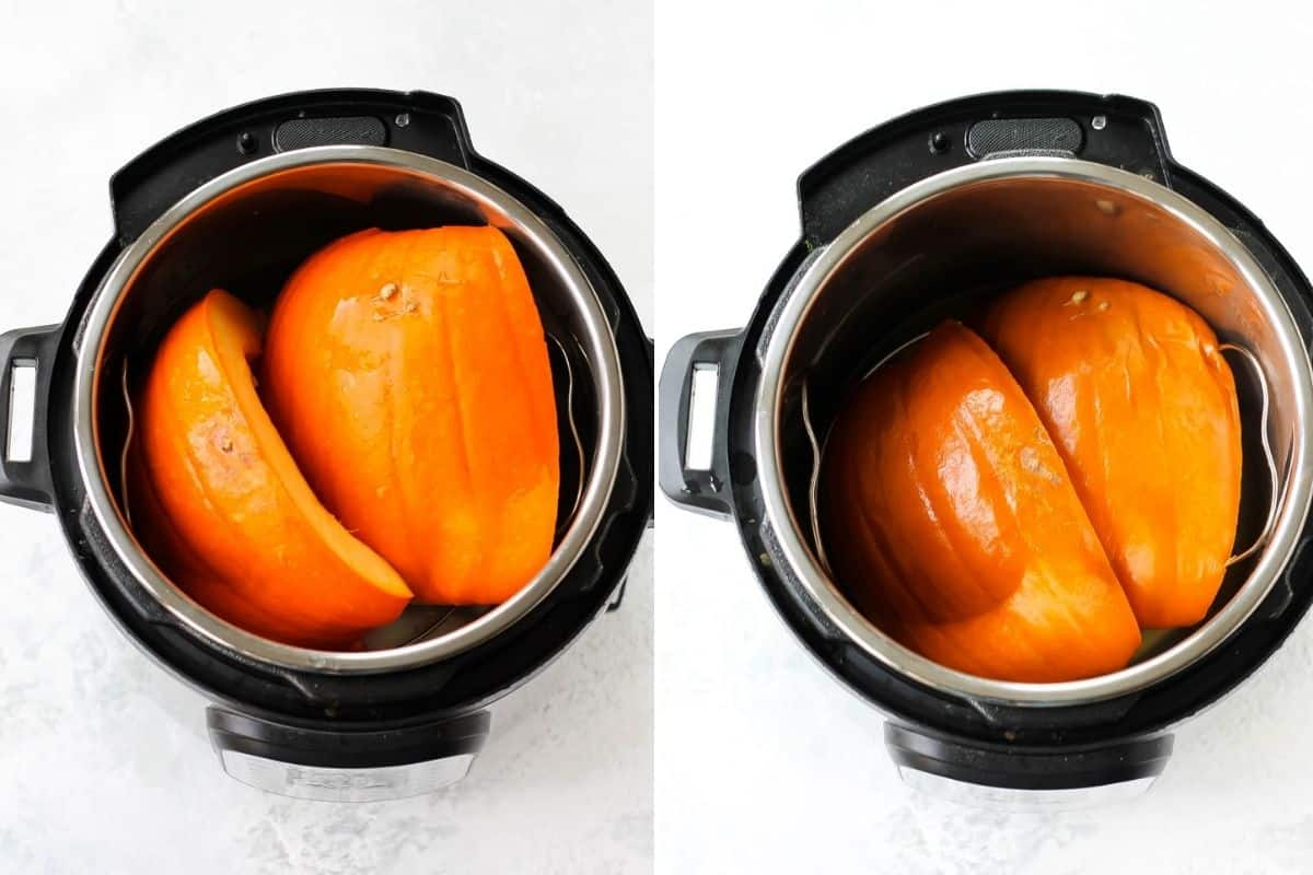 photo collage with cooked and uncooked pumpkin in an instant pot