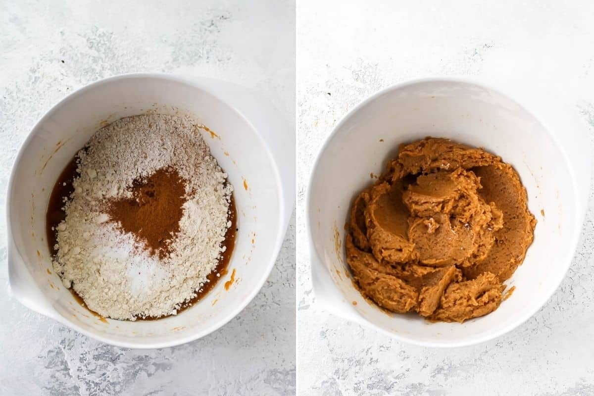 photo collage with flour and spices being mixed into vegan pumpkin chocolate chip cookies