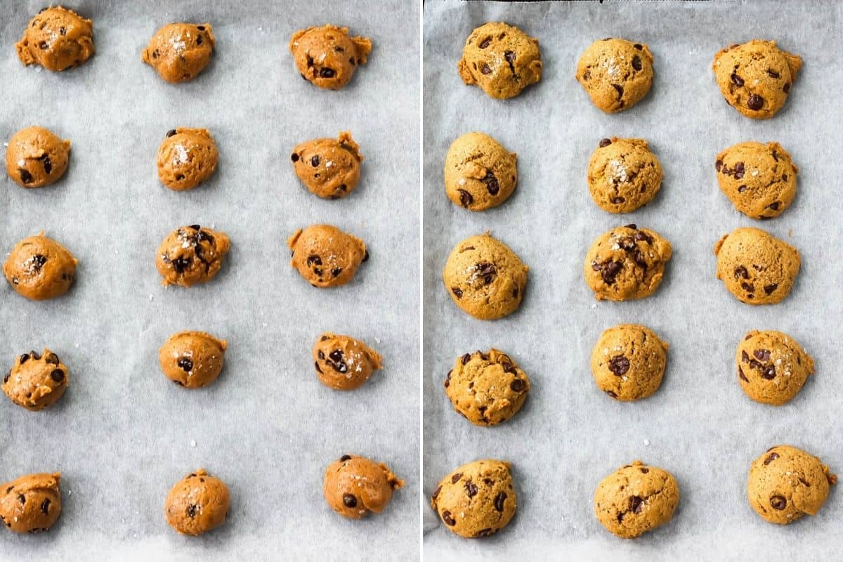 photo collage with baked and unbaked vegan pumpkin chocolate chip cookies