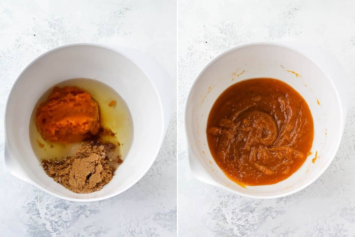 photo collage with pumpkin puree, oil, and sugar being mixed together in a white bowl